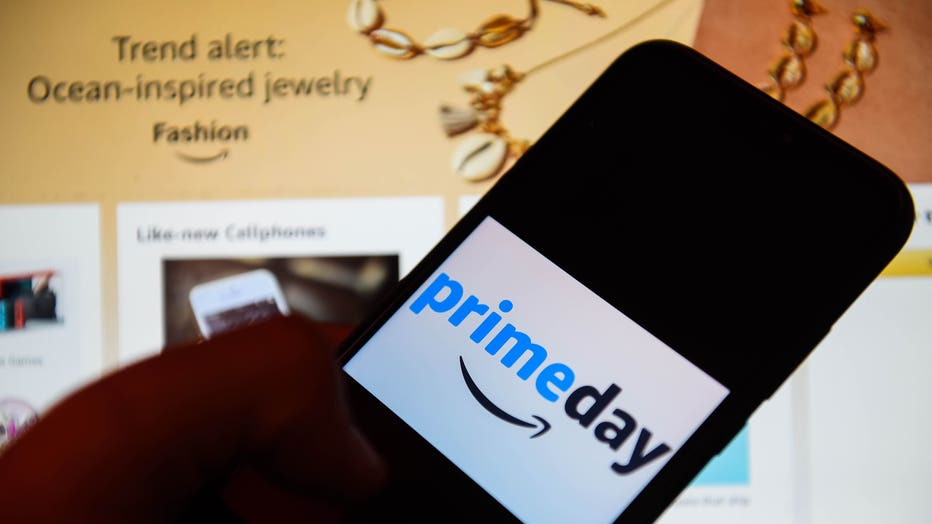 In this photo illustration an Amazon Prime day logo seen