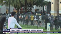 Protests continue Monday evening near Lake Eola