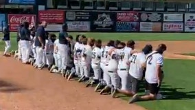 Entire high school baseball team kneels during national anthem at first game of season