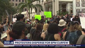 Protesters disperse for 8 p.m. curfew