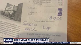 Free meal and a message to young couple at diner