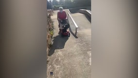 'Weee!': Grandma rides mobility scooter in skate park to celebrate after months in quarantine
