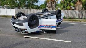 Daytona Beach police vehicle flipped over during chase; officer, K-9 partner not injured