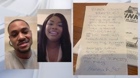 Waitress pays young couple's meal at Central Florida restaurant with hopeful message attached