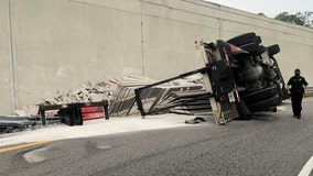Overturned semi-truck closes I-4 exit ramp in Osceola County, alternative routes advised, FHP warns
