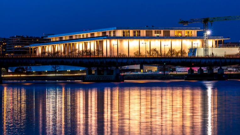 Kennedy Center Performing Arts with reflection on Potomac River, Washington D.C.