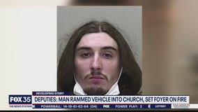 Deputies: Man rammed vehicle into church, set foyer on fire