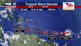 Tropical Storm Gonzalo gaining strength, expected to become hurricane by Thursday