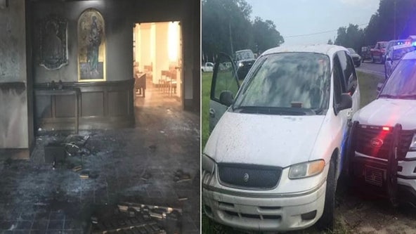 Man crashes into Central Florida church, lights it on fire with parishioners inside, deputies say