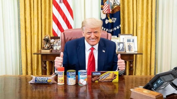 President Trump poses for photo with Goya food products following calls for boycott