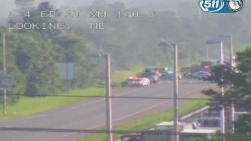 Stretch of I-4 westbound in Volusia County shut down due to tractor-trailer fire, officials say