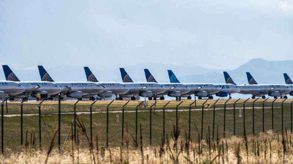 United Planes Sit Parked At Denver International Airport, As The Coronavirus Pandemic Severely Halts Airline Travel