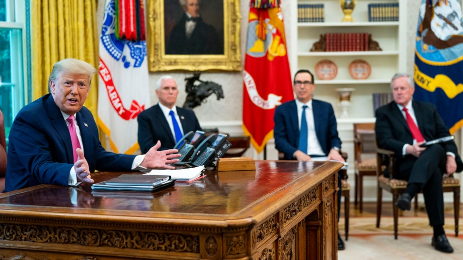 Trump Meets With Cabinet Members, Members Of Congress On Stimulus Payments