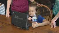 Get a look at how a family starts the first day of virtual classes in Orange County