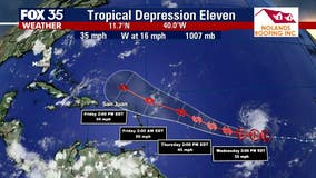 Tropical Depression 11 forms in the Atlantic