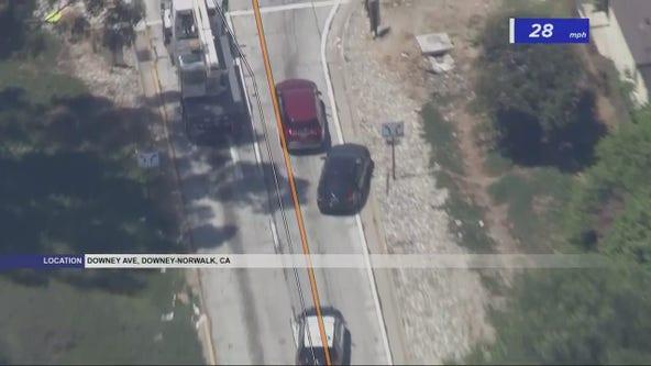 Authorities in pursuit of vehicle near Norwalk