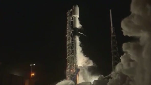 SpaceX launches Falcon 9 from Cape Canaveral carrying Starlink satellites into orbit