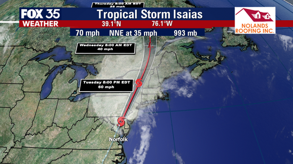 Tropical Storm Isaias drives wild weather up Interstate 95 along U.S. east coast