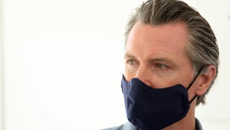 California Governor Gavin Newsom Masked Up