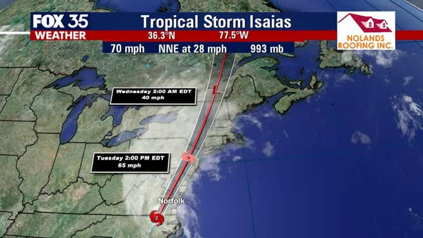 Isaias, again a tropical storm, spawns wild inland weather after making landfall in the Carolinas
