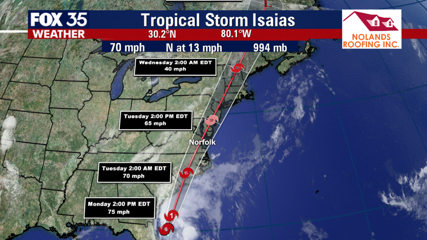 Tropical Storm Isaias expected to regain hurricane strength, make landfall in the Carolinas