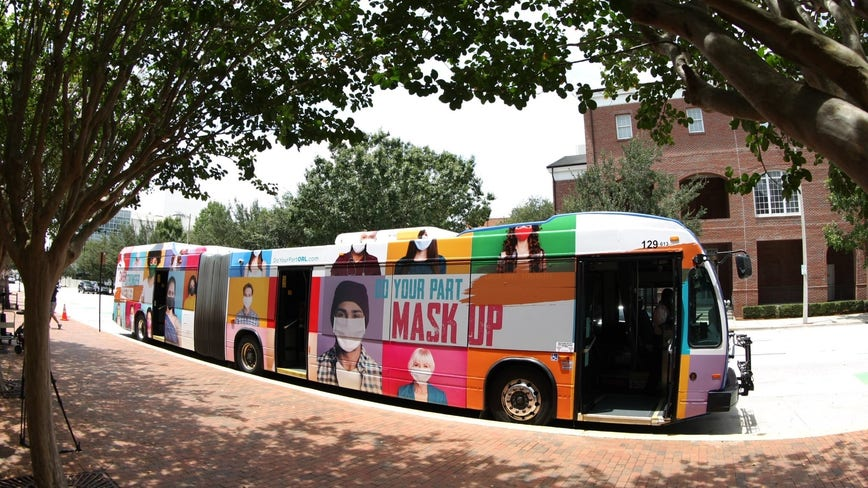 Orange County unveils bus that encourages residents to 'mask up' and follow CDC guidelines