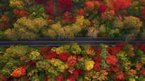 Aerial footage shows stunning autumn foliage in Vermont