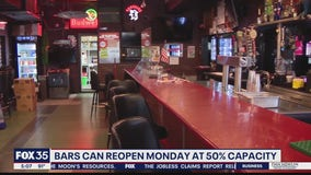 Bars can reopen on Monday at 50% capacity
