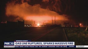 Gas line ruptures, sparks massive fire