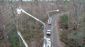 Florida Power & Light crews return home after restoring power to those hit by Hurricane Laura, raising money