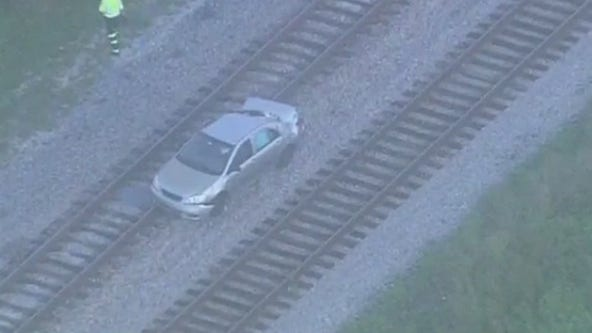 1 injured after vehicle gets stuck on tracks, hit by SunRail train