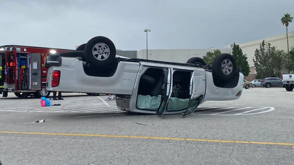 1 injured after truck flips over in Sanford mall parking lot