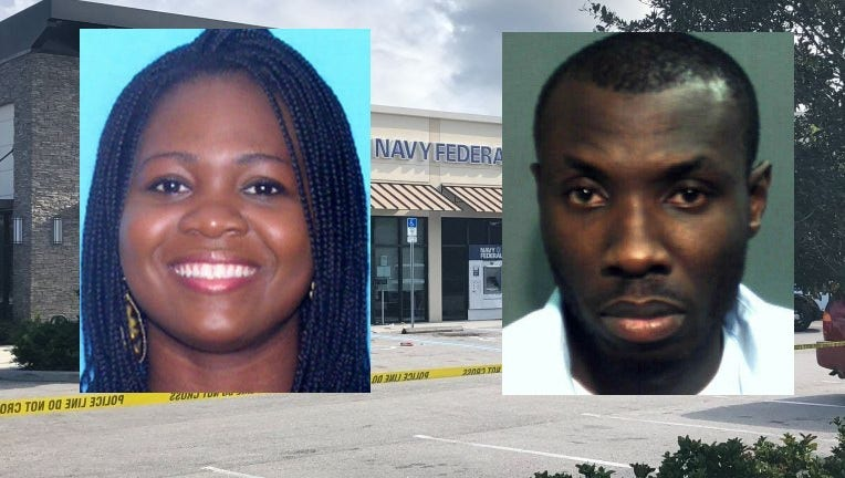 Investigators say Barbara Tommey, 27, was fatally shot near the front door of the Navy Federal Credit Union by her husband, Sylvester Ofori, 35.