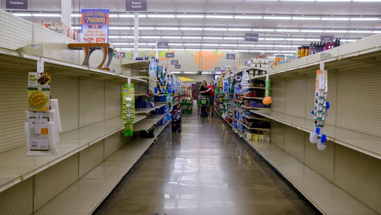 Toilet paper shelves are empty at a Save Mart supermarket