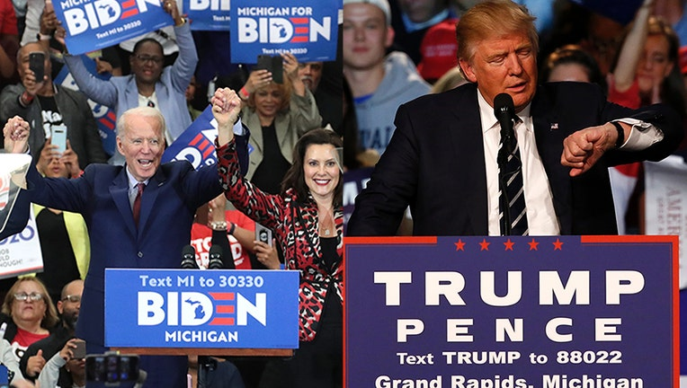 Joe Biden and Donald Trump photographed at separate campaign events.