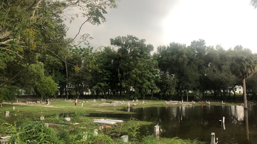 Heavy rain causes Orange County cemetery to flood