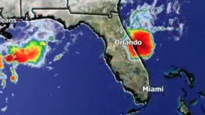 Disturbance off Central Florida causes strong winds, heavy rain, rough surf
