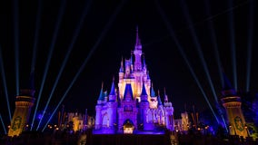 Cinderella's Castle at Magic Kingdom lights up in purple and gold after Los Angeles Lakers win NBA Finals
