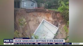 Huge sinkhole in Gainesville growing