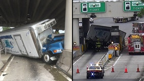 Semi-truck fails to slow down, strikes car and toll plaza on the Florida Turnpike