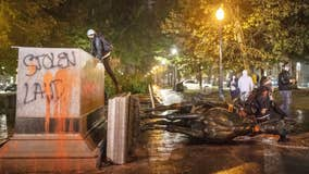 Protesters knock down Roosevelt and Lincoln statues in Portland