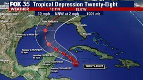 Tropical Depression 28 forms, expected to head into Gulf of Mexico