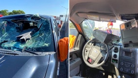 Florida driver 'lucky to be alive' after hunk of metal crashes through windshield