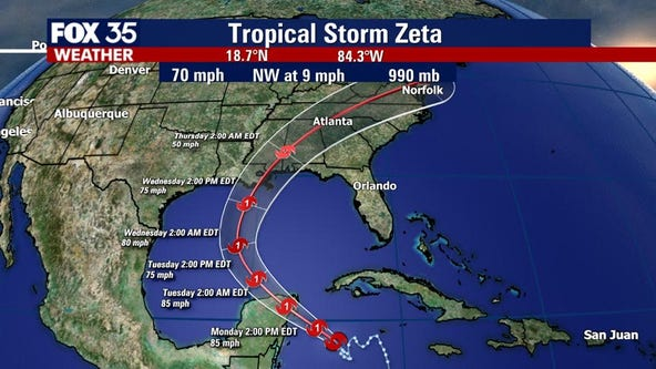 Tropical Storm Zeta strengthening, to become hurricane
