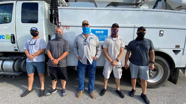 Florida power crews head out to help with Hurricane Zeta damage