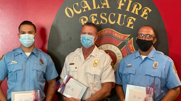 Ocala Fire Rescue members honored for saving 2 from burning building