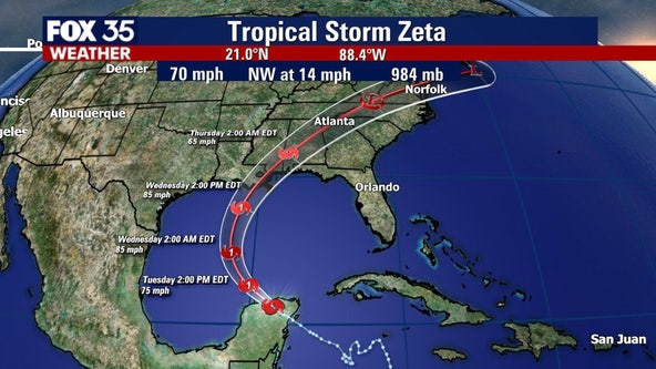 Zeta weakens to tropical storm, expected to be hurricane approaching Gulf Coast