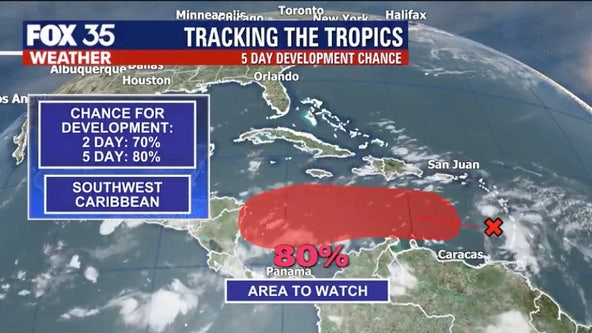 System in the Caribbean has 80-percent chance of forming