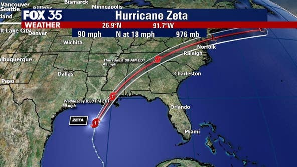 Hurricane Zeta takes aim at Gulf Coast, landfall expected Wednesday