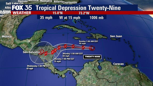 Tropical Depression 29 forms in Caribbean, moves toward Central America